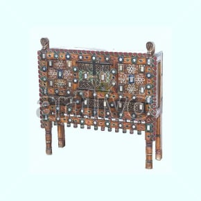 Antique Indian Carved Lavish Solid Wood small mirror glass fitted coloefull design Trunk