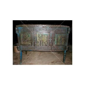Antique Indian Beautiful Rich Solid Wood blue color with chiseled wood Trunk