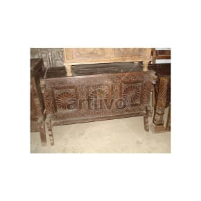 Old Indian Carved Plush Solid Wood brown color Trunk
