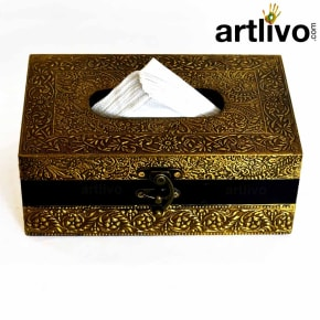 ArtlivoUBER ELEGANT Brass Tissue Box With Tissue Paper/ Tissue Box/ Box/ Decorative Box/ Napkin Holder/ Handicraft Tissue Box/ Napkin Storage/ Tissue Holder