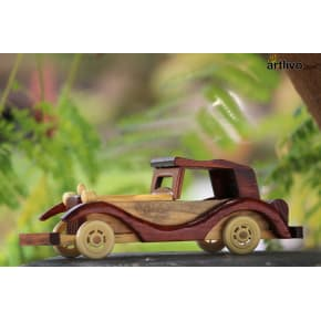 Wooden Carved Brown Toy Car