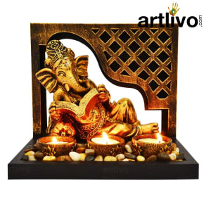 Ganesha Statue With Tea Light Candle Stand