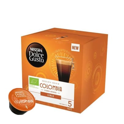 Nescafé Colombia Lungo package and capsule for Dolce Gusto