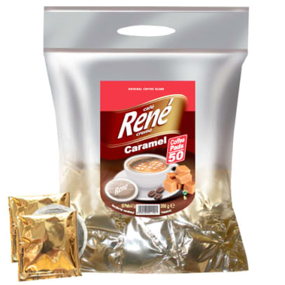 Café René Caramel 50 package and pods for Senseo