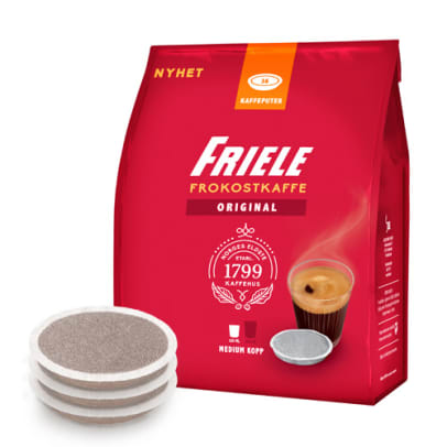 Friele Frokostkaffe Medium Cup package and pods for Senseo