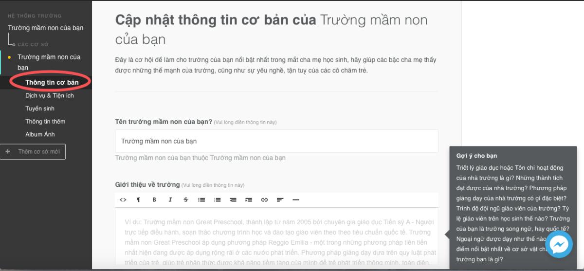 """Hướng dẫn sử dụng chức năng """"Thêm trường của bạn"""" trên Kiddi.vn"""
