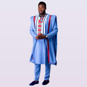 Cossly Sky Blue Agbada