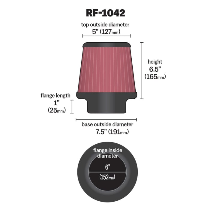K/&N Universal Air Filter Increasing Horsepower And Acceleration RF-1042