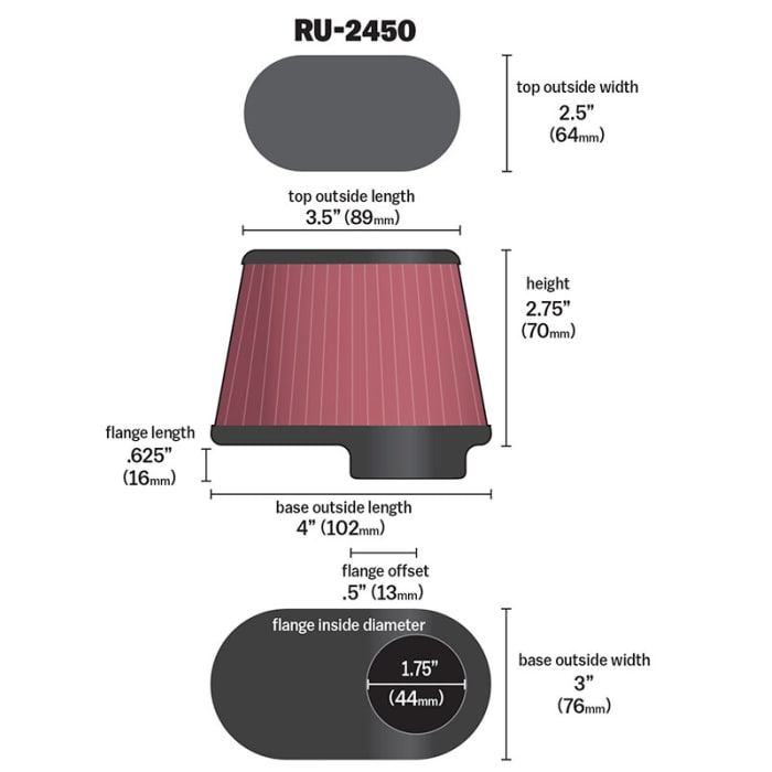 K/&N Filters RU-2450 Universal Air Cleaner Assembly
