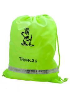 Personalisierter Turnbeutel mit Zugschnur fürs Turnen, Schwimmen oder andere Aktivitäten.