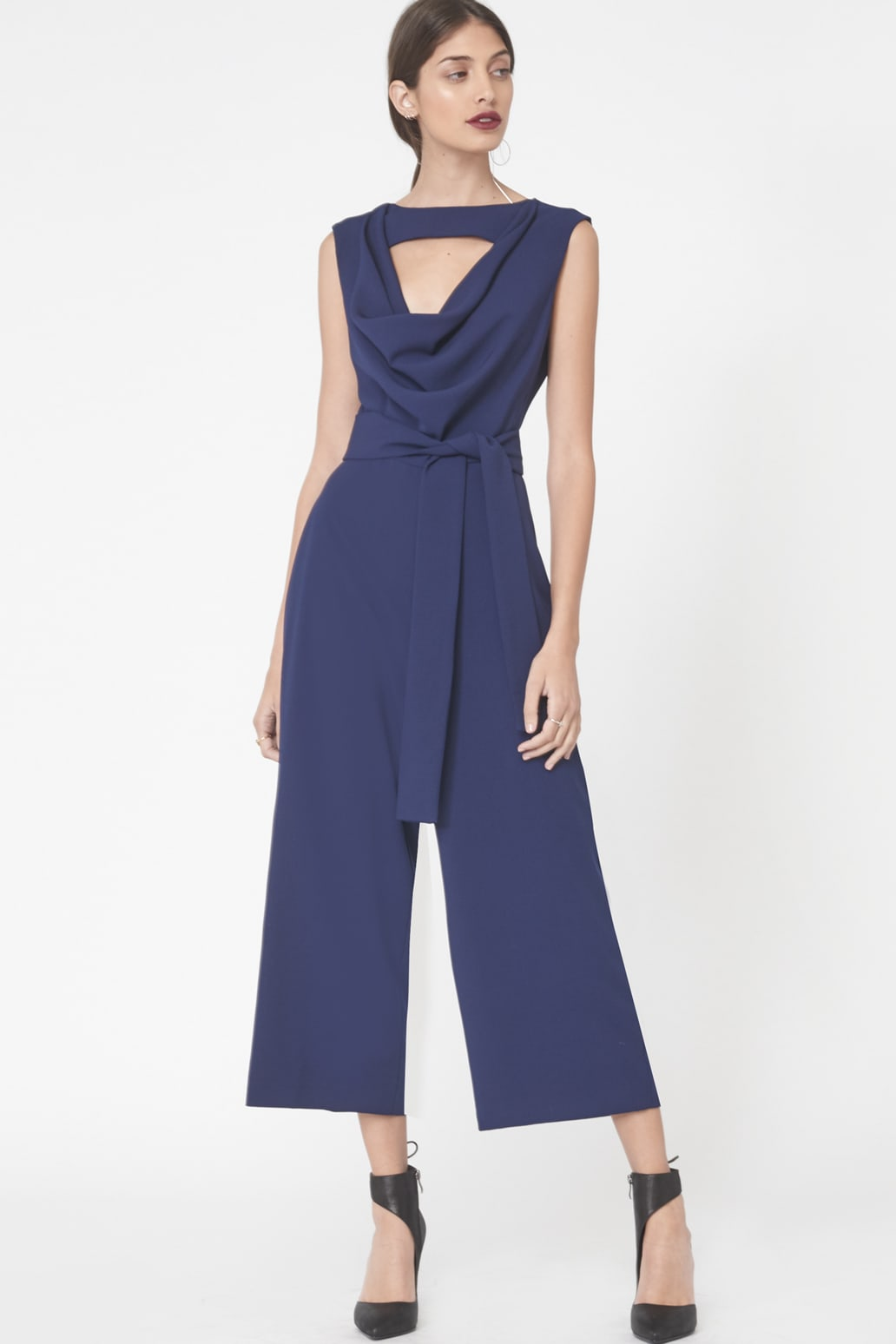 Cowl Neck Cropped Jumpsuit in Navy