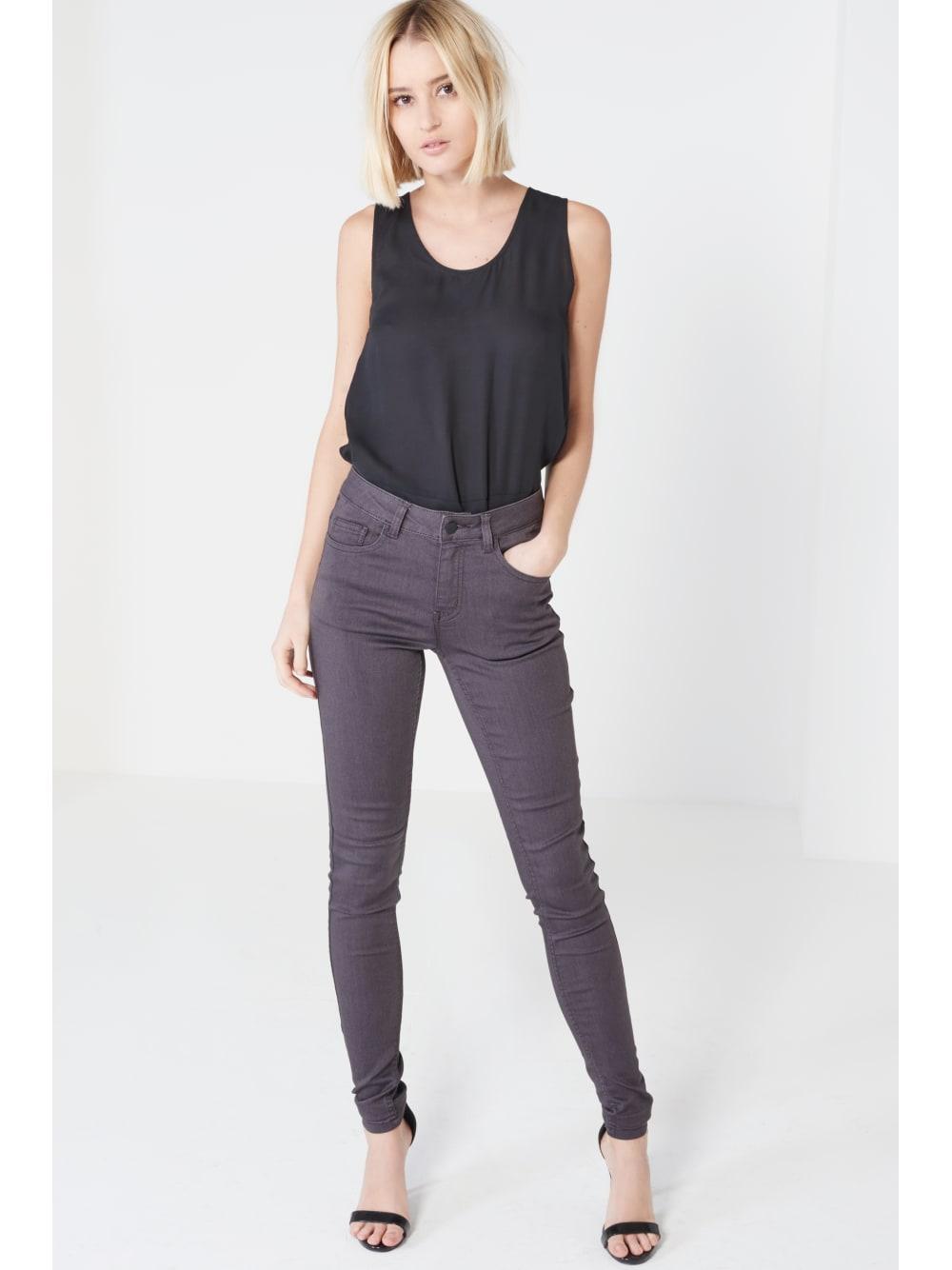 Grey High Waist Stretch Denim Skinny Jeans
