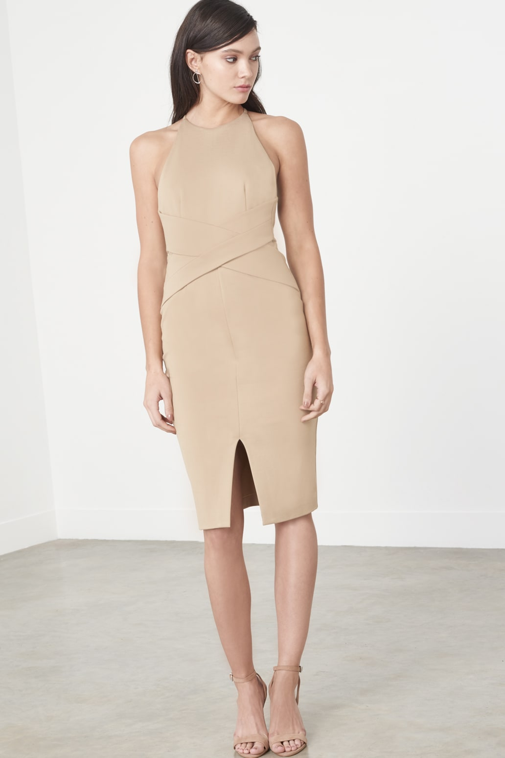Camel Wrap Front Plunge Back Detail Midi Dress