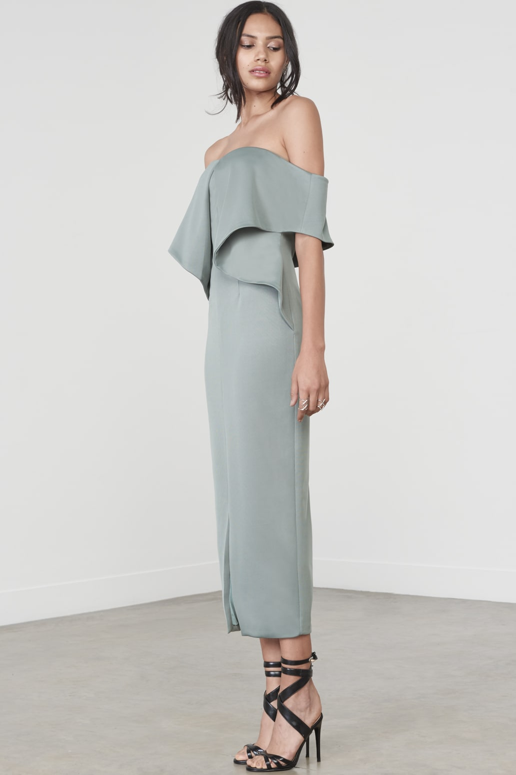 Drop Shoulder Origami Dress in Sage