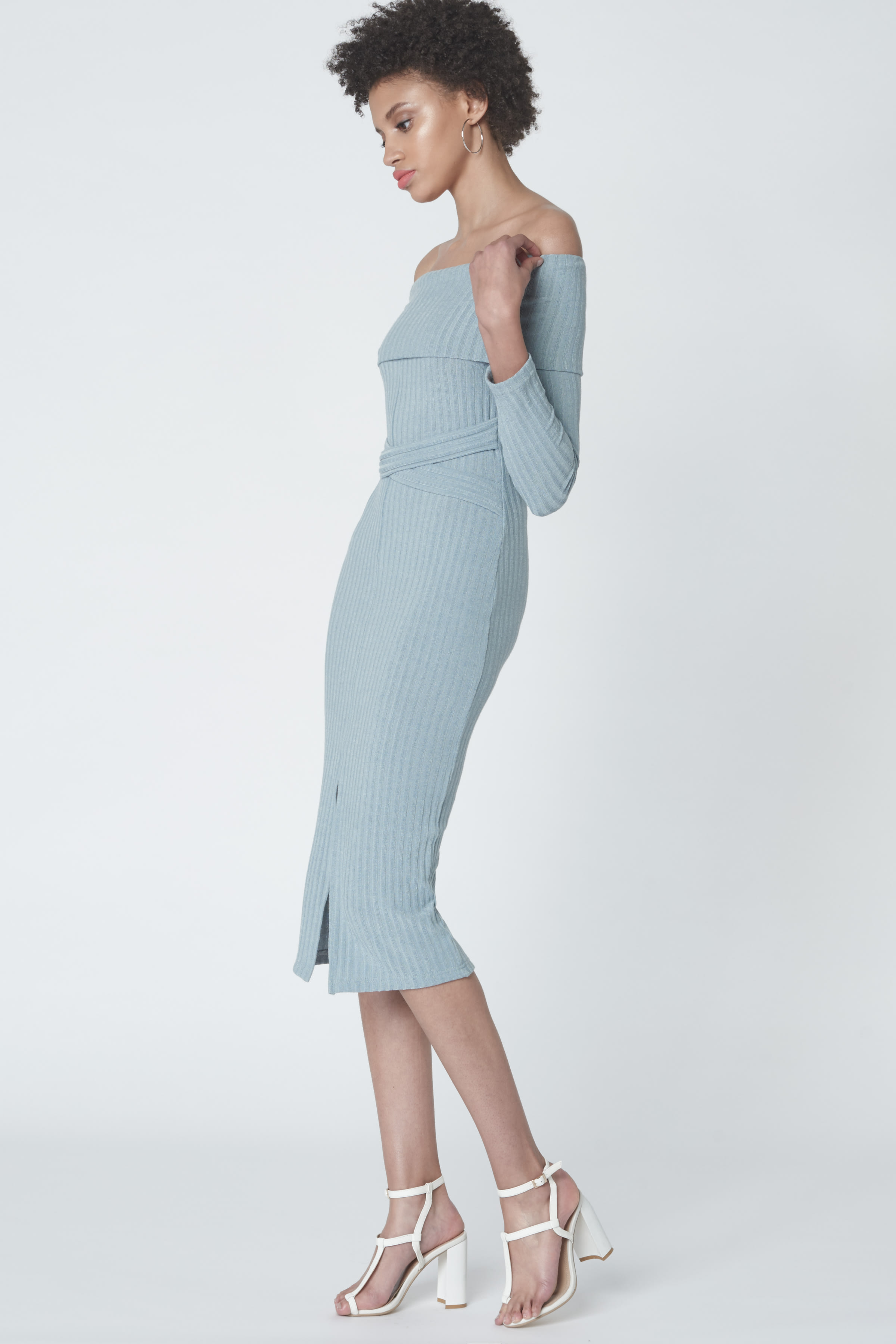 Criss Cross Strapless Dress in Powder Blue Knit