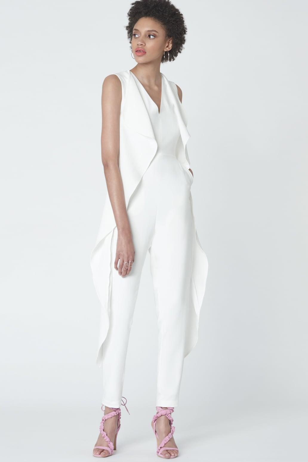 Split-Back Tailcoat Jumpsuit in Soft White