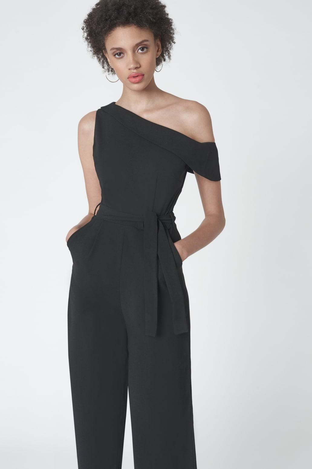 Cropped Leg Asymmetric Jumpsuit in Black