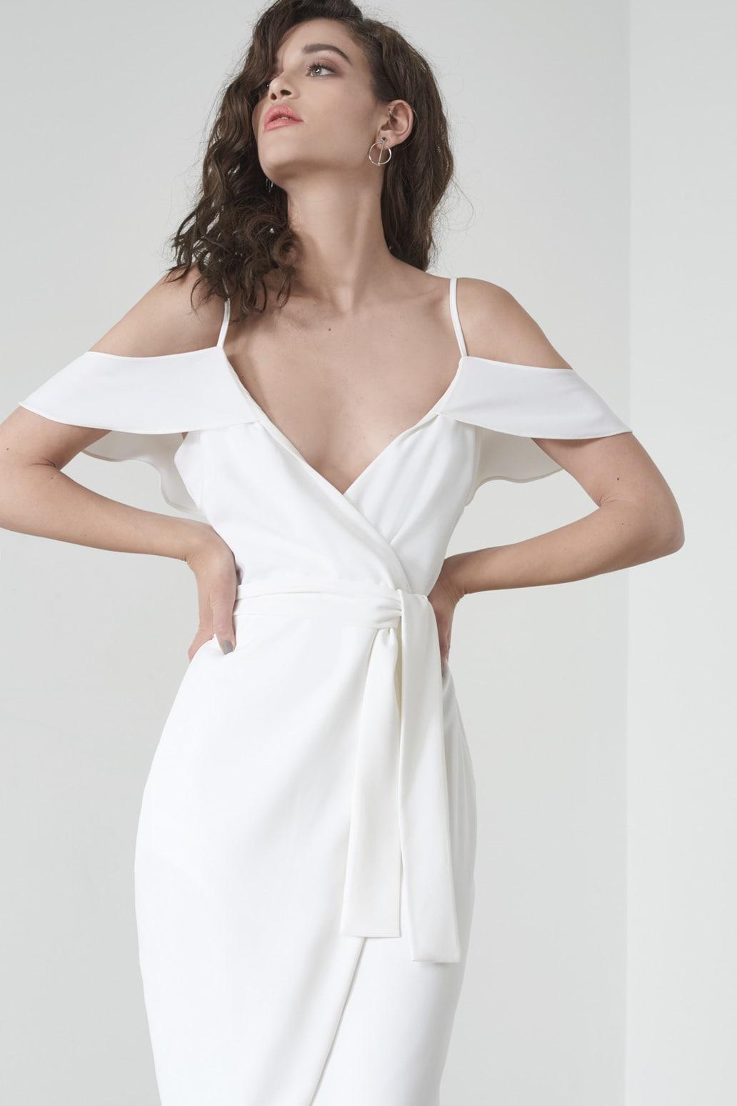 Ruffle Shoulder Dress in White