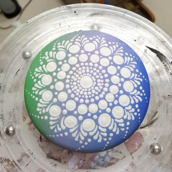 blue and green blend on mandala stone