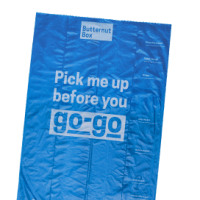 A single blue poo bag