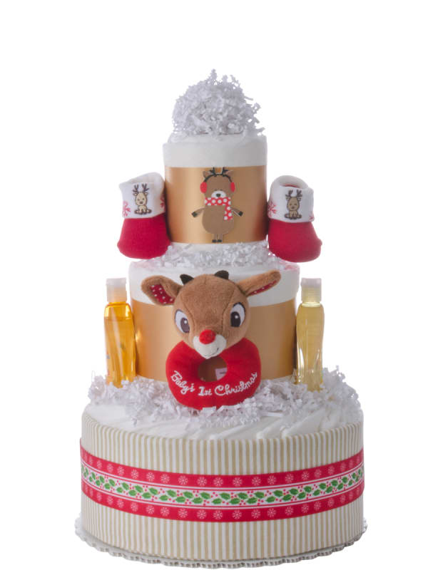 Baby's First Christmas Diaper Cake for Boys