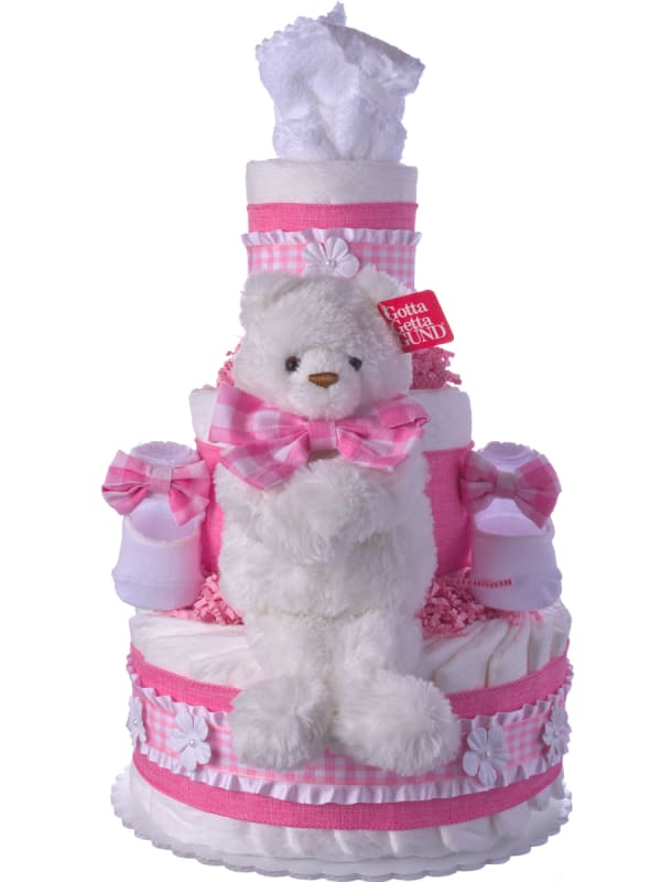 Call Me Miss Gingham Baby Diaper Cake for Girls