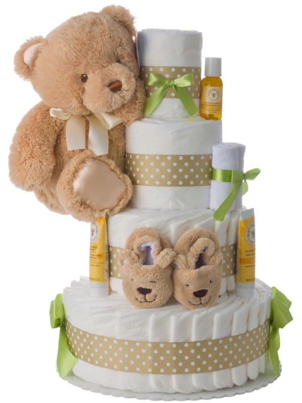 4 Tier Neutral Contemporary Diaper Cake