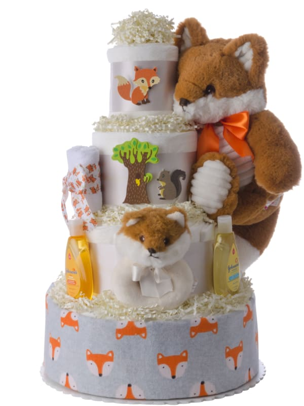 Fox and Friend Neutral Diaper Cake