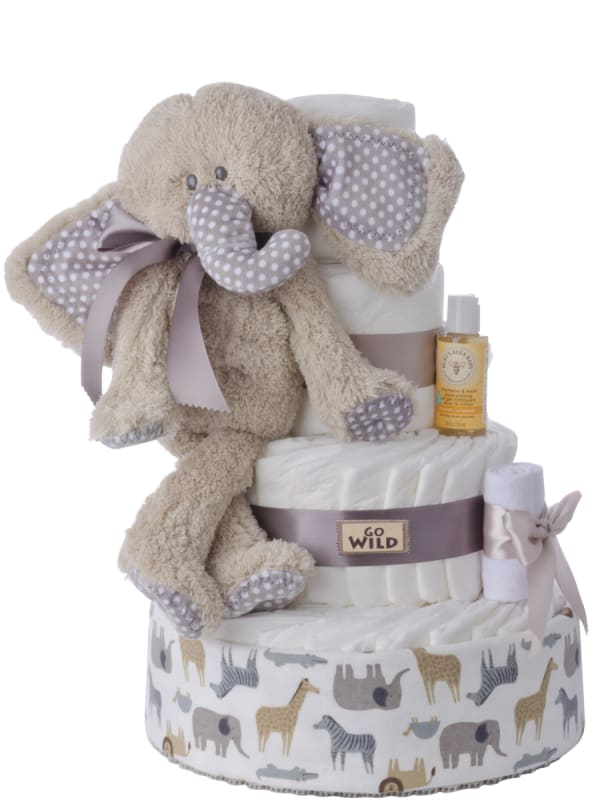 Go Wild Baby Elephant Neutral Diaper Cake