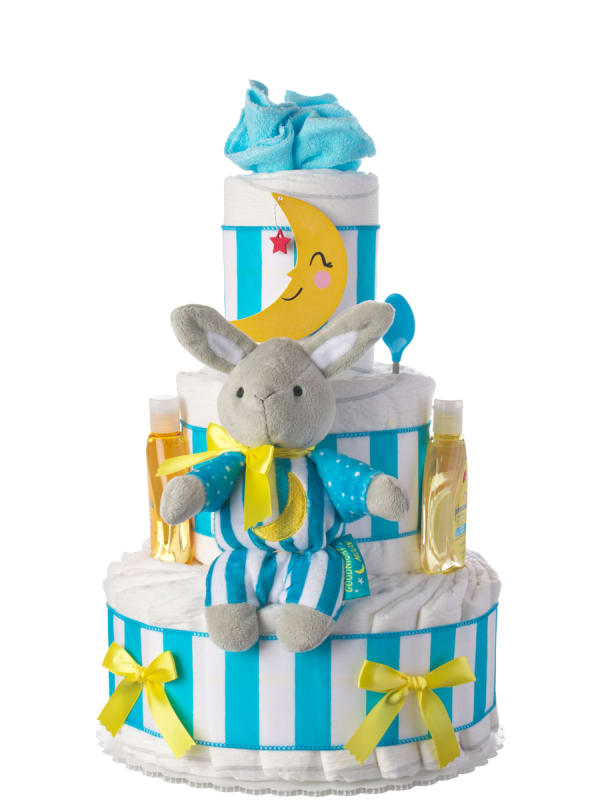 Goodnight Moon 3 Tier Baby Diaper Cake with book