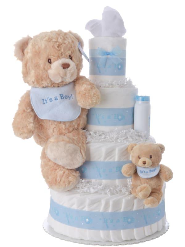 It's a Boy Bib Bear Diaper Cake