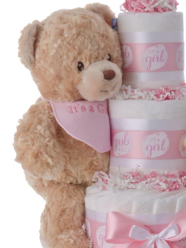 Lil' Girl Bear Bib Diaper Cake