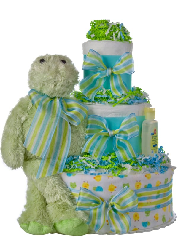 Lil Baby Cakes Green Frog 3 Tier Diaper Cake