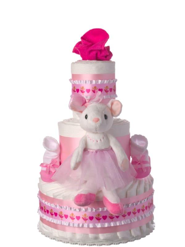Ballerina Pink Baby Diaper Cake for Girls