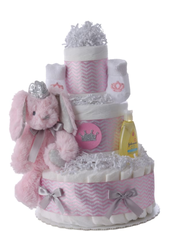 Lil' Pink Bunny Princess Diaper Cake for Girls