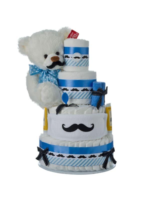 Little Man Mustache 4 Tier Diaper Cake