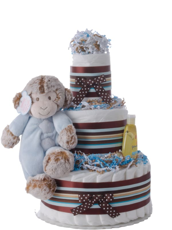 Musical Monkey Blue Baby Boy Diaper Cake