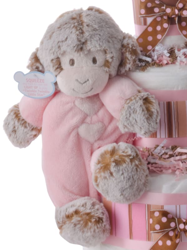 Musical Monkey Pink Baby Girl Diaper Cake