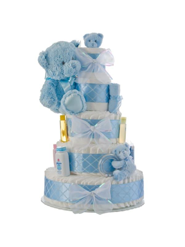 My First Teddy Bear Blue Diaper Cake