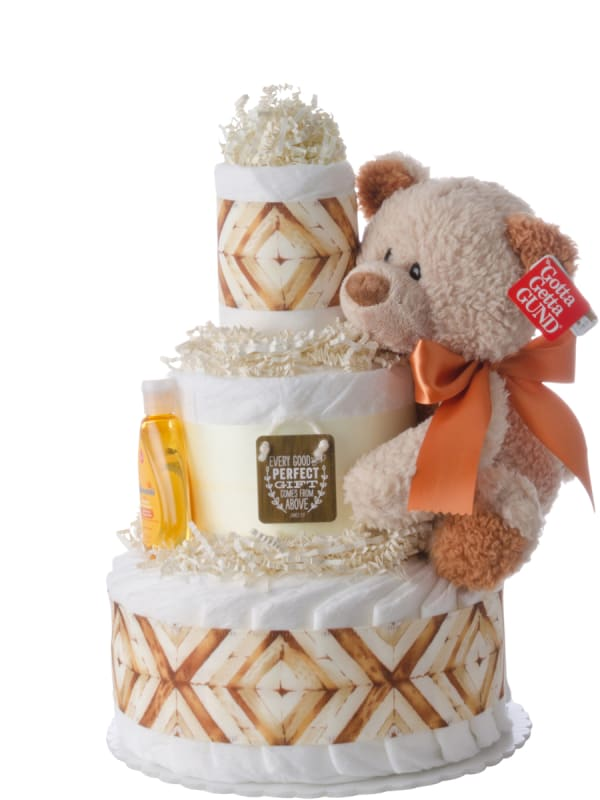 Perfect Gift From Above Neutral Diaper Cake