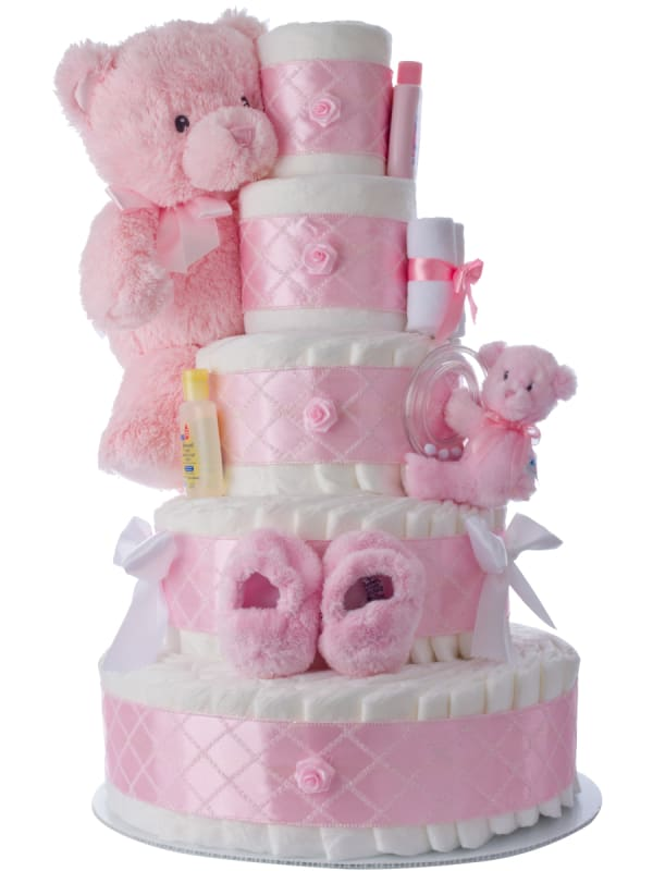 5 Tier Pink Diaper Cake for Girls