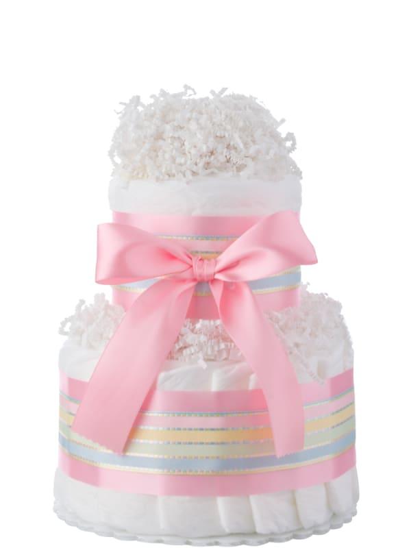 Pink Two Tier Mini Diaper Cake