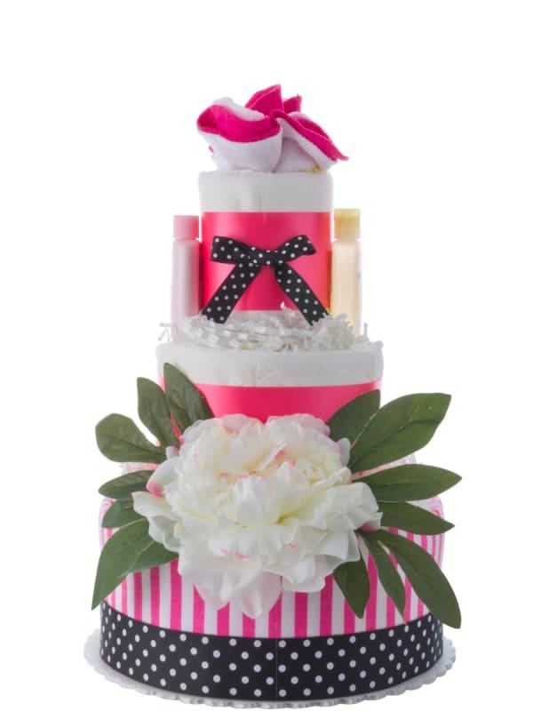 3 Tier Flower Diaper Cake