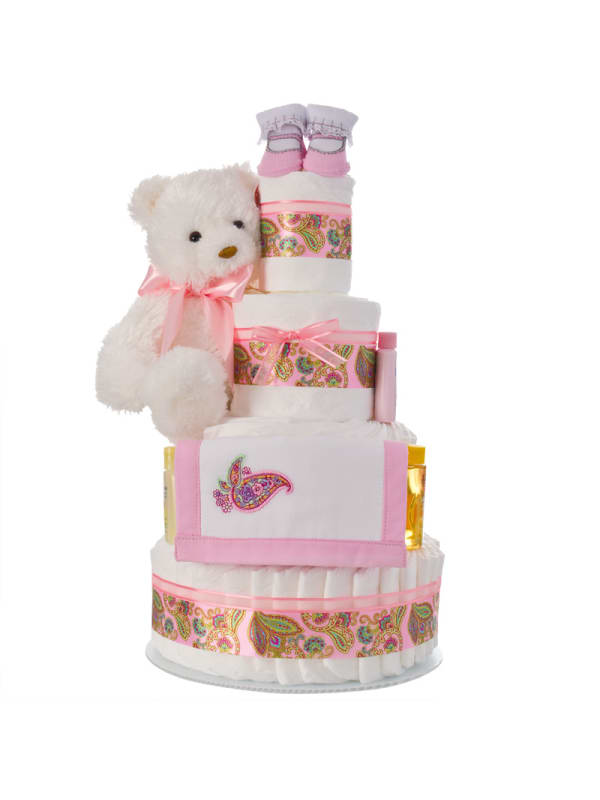 Pretty And Pink Paisley 4 Tier Diaper Cake
