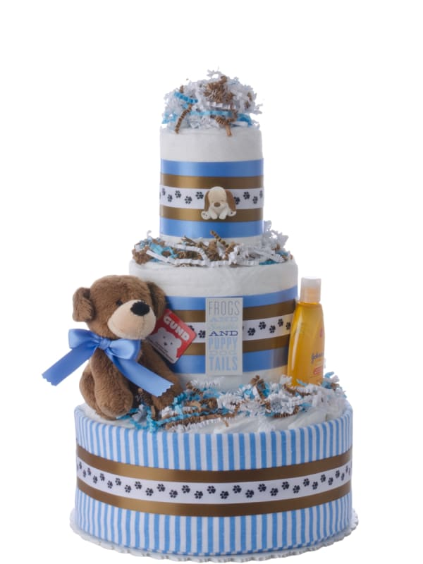 Puppy Tails Boy Diaper Cake
