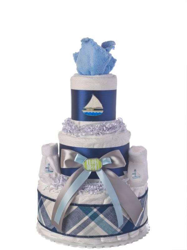 Away We Sail Neutral Diaper Cake