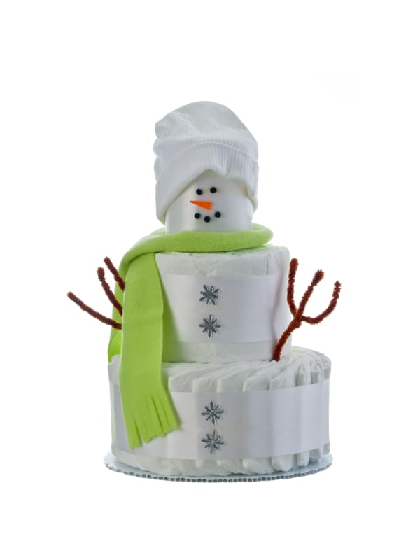 Holiday Snow Baby 3 Tier Diaper cake