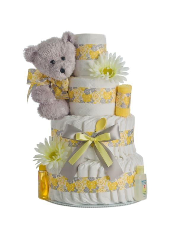 Springtime Bear 4 Tier Diaper Cake