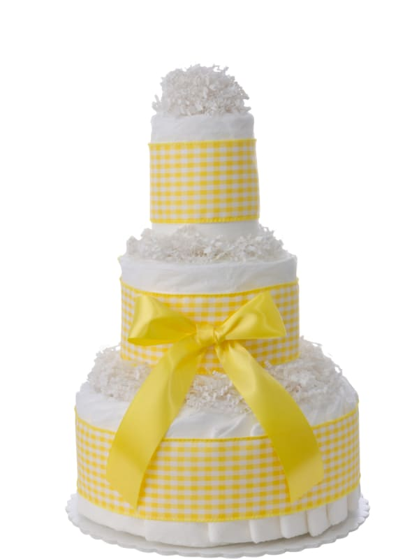 Sweet Yellow Gingham 3 Tier Diaper Cake