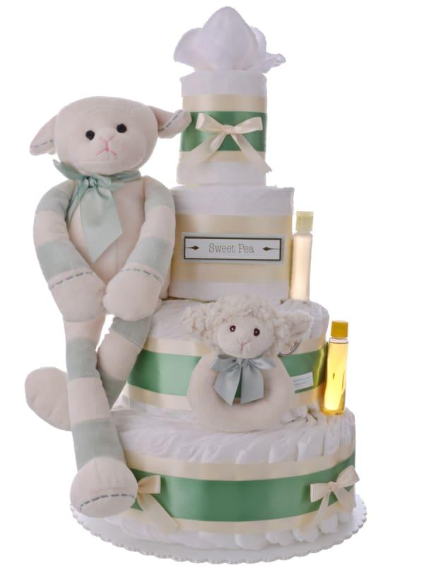 Sweet Pea Newborn Gender Neutral Lamb Diaper Cake